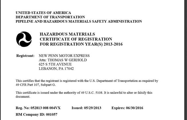 hazardous materials certificate certificates safety